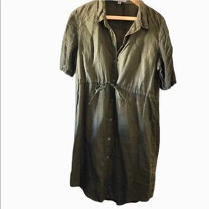 People Like Frank army green button up dress